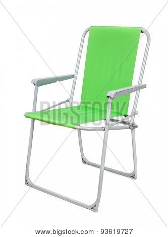 Green foldable camp chair isolated on white