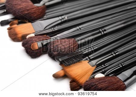 Close up of professional make up brushes