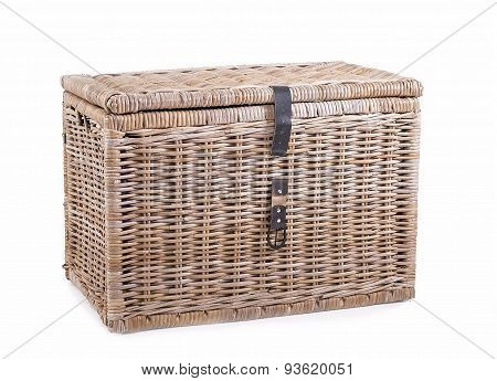 Wicker Thatched Basket On A White Background