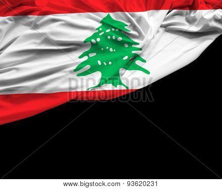 Lebanese waving flag on a black day