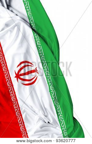 Iranian waving flag on white background