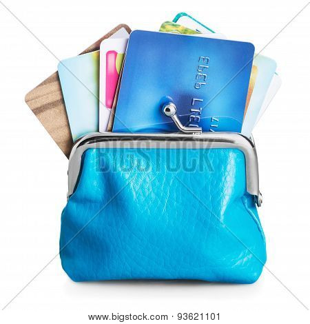 Different Credit Cards In Purse Isolated On White