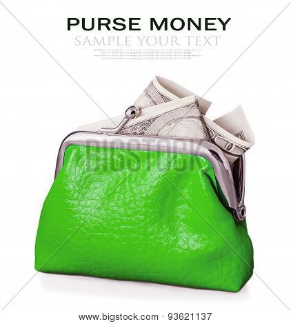 Purse With Hundred Dollars Banknote Isolated On White Background