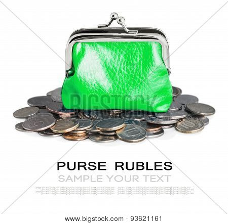 Green Purse And Coins Isolated
