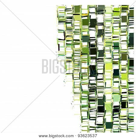 Green Fragmented Abstract Pattern Over White