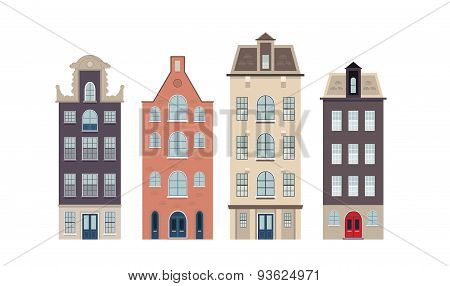 Urban european houses on the white background