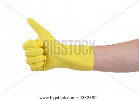 Yellow Glove For Cleaning Show Thumbs Up