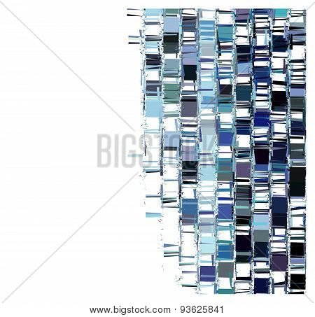 blue fragmented abstract pattern over white
