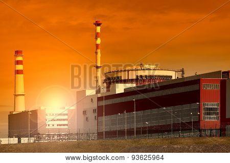 Nuclear power plant Temelin in Czech Republic Europe, sunset sky