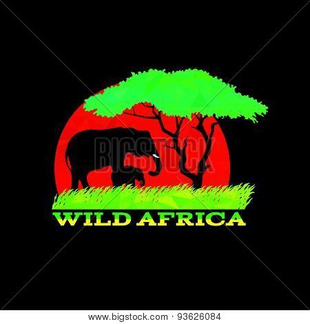 wild africa low poly is africa mother and baby elephant, meadow and tree