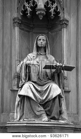 Statue at the Carl's Bridge in Prague, Czech Republic