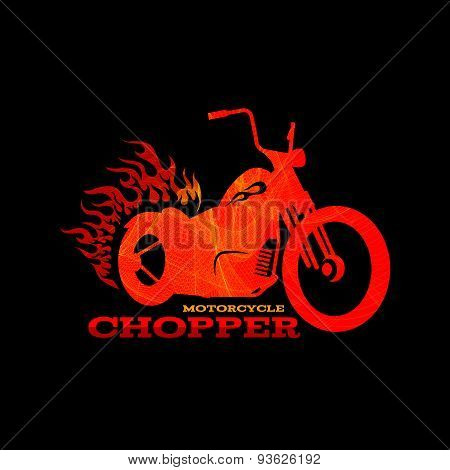 Red orange motorcycle chopper logo