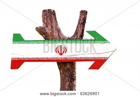 Iran Flag wooden sign isolated on white background