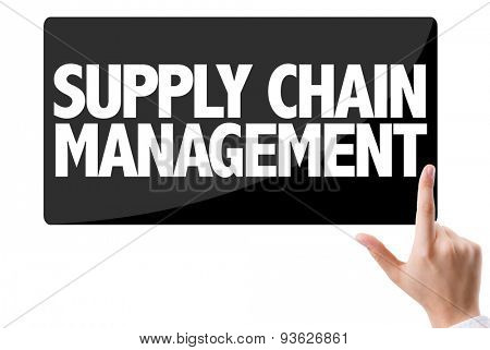 Businessman pressing button with the text: Supply Chain Management