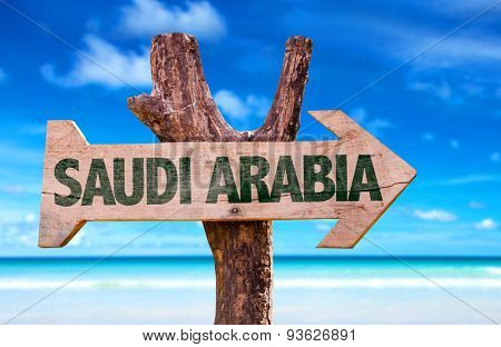 Saudi Arabia wooden sign with Red Sea background