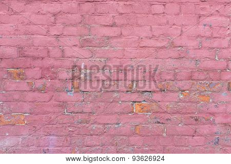 Decorated External Masonry Wall In Dilapidated Condition