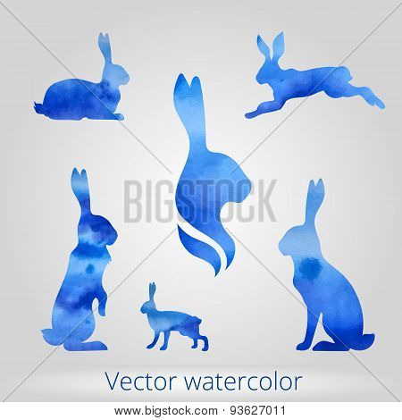 Hare set of watercolor silhouettes