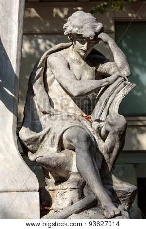 PARIS, FRANCE - SEPTEMBER 8, 2014: Paris - Sorbonne Square. Monument of Auguste Comte french philosopher
