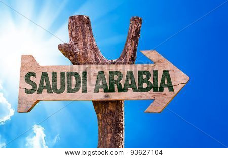 Saudi Arabia wooden sign with a beautiful day
