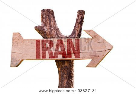 Iran wooden sign isolated on white background