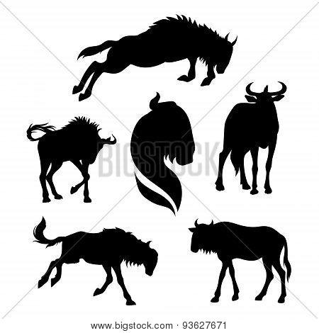 Wildebeest set vector