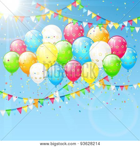 Balloons And Pennants On Sky Background