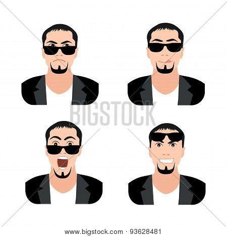 Flat Men with Faces Icons Set. Set of Men Avatars. Set of Men Characters. Vector Illustration. Busin
