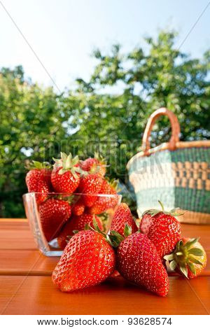 Strawberry And Shopping Bag On The Table