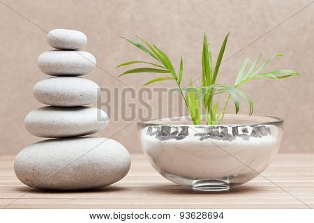 piled pebble stones and plant