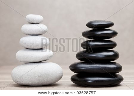 grey and black piled pebble stones