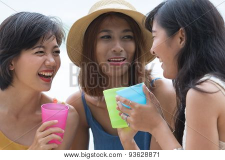 Portrait Of Young Woman Happy Face Laughing And Joyful Emotion In No Alcohol Party Talking