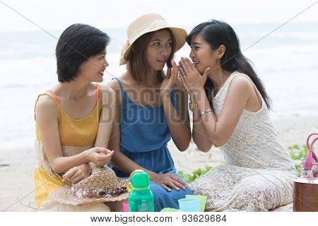 Portrait Group Of Young Beautiful Woman Friend Gossip Whispering Talking About Secret Story