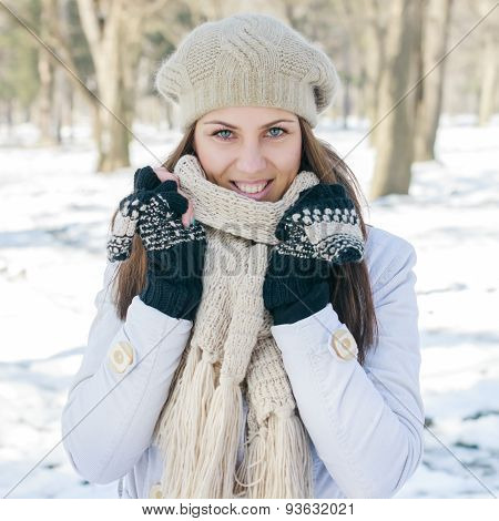 Happy Beautiful Young Woman Winter Season