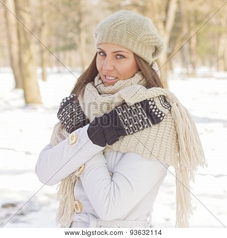 Happy Beautiful Young Woman Winter