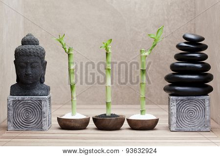 buddha statue beside pile of massage stones and lucky bamboos