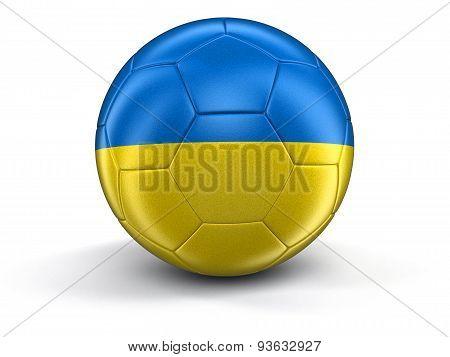 Soccer football with Ukrainian flag