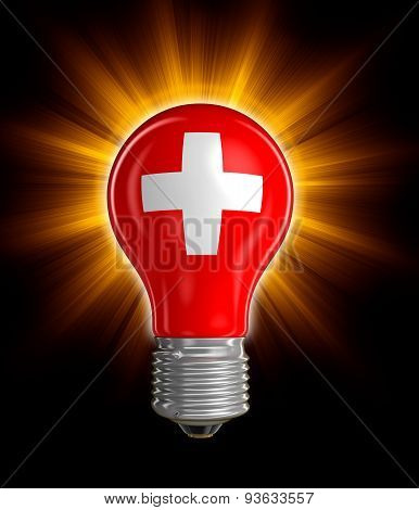 Light bulb with Swiss flag (clipping path included)