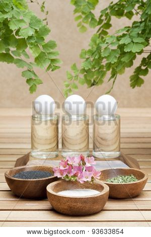 ayurveda treatment three bottles with essential oils made of natural ingredients