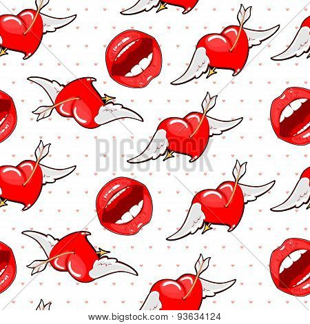 Vector Background Of The Lips And Hearts