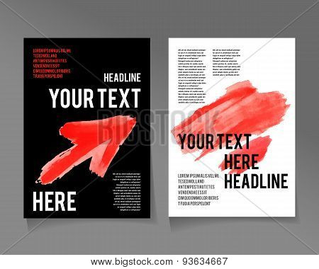 Flyer template. Business brochure. Red color
