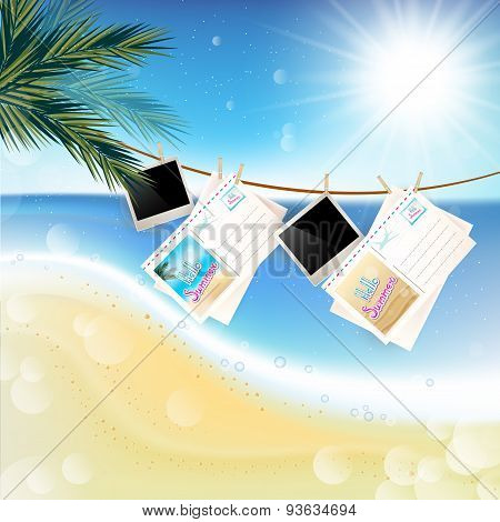 Tropical Sunny Summer Day With Hanging Photos And Letters