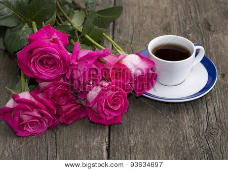 Bouquet Of Pink Roses And Coffee, Still Life