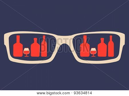 Concept alcohol addiction. In the glasses reflected alcoholic beverages. Vector illustration