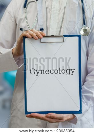 Doctor Holds Clipboard With Gynecology