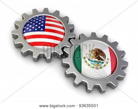 USA and Mexican flags on a gears (clipping path included)