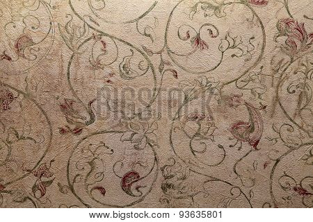Vintage Shabby Chic Wallpaper With Floral Victorian Pattern