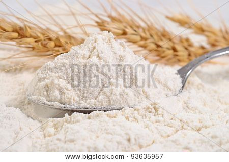 White Flour In A Spoon And Ears Of Wheat
