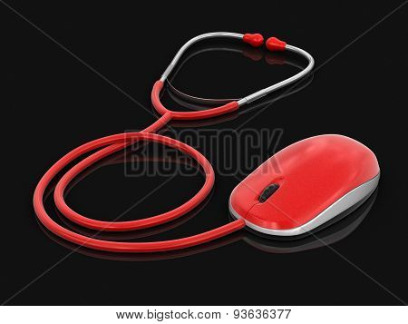 stethoscope and Computer Mouse (clipping path included)