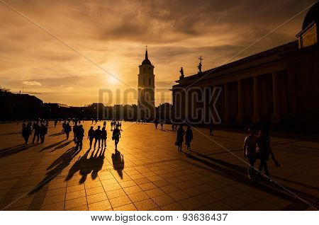 Golden light with people silhuettes