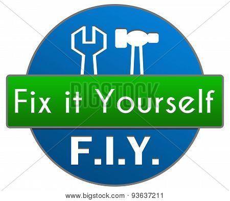 FIY - Fix It Yourself Green Blue Circle